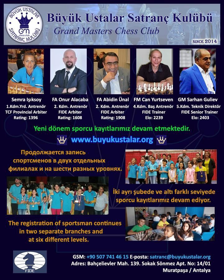 Antalya Büyük Ustalar Satranç Kulübü Satranç Dersleri
